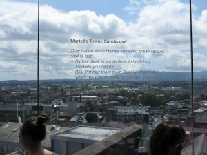 View from the top of the Storehouse, complete with James Joyce quote.